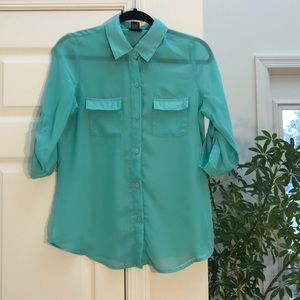 Rue21 Teal See-Through Top